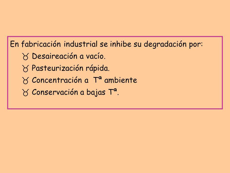 En fabricación industrial se inhibe su degradación por: _ Desaireación a vacío. _ Pasteurización rápida. _ Concentración a Tª ambiente Conservación a