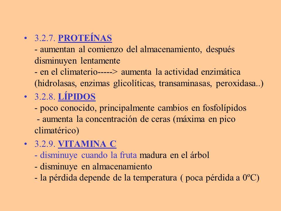 3.2.7. PROTEÍNAS - aumentan al comienzo del almacenamiento, después disminuyen lentamente - en el climaterio-----> aumenta la actividad enzimática (hi