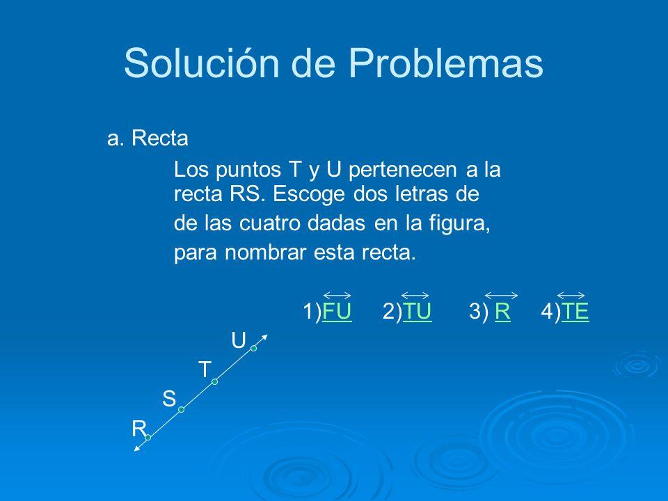 Solución de Problemas a.Recta Los puntos T y U pertenecen a la recta RS.