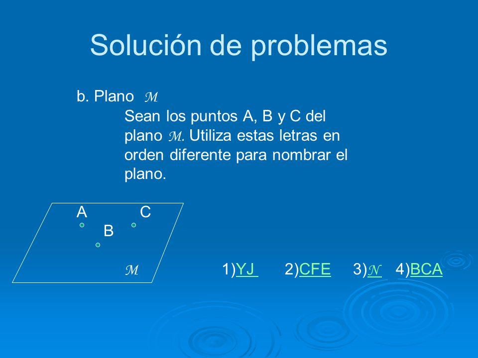 Solución de problemas b.Plano M Sean los puntos A, B y C del plano M.