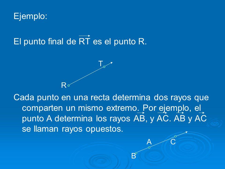 Ejemplo: El punto final de RT es el punto R.