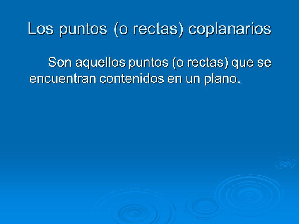 Los puntos (o rectas) coplanarios Son aquellos puntos (o rectas) que se encuentran contenidos en un plano.