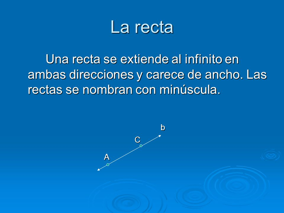 La recta Una recta se extiende al infinito en ambas direcciones y carece de ancho.