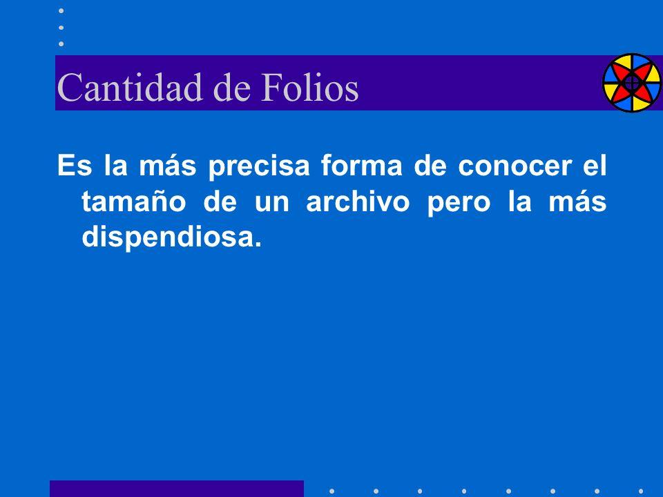 Cantidad de Folios Es la más precisa forma de conocer el tamaño de un archivo pero la más dispendiosa.