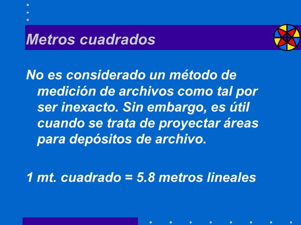 Metros cuadrados No es considerado un método de medición de archivos como tal por ser inexacto. Sin embargo, es útil cuando se trata de proyectar área