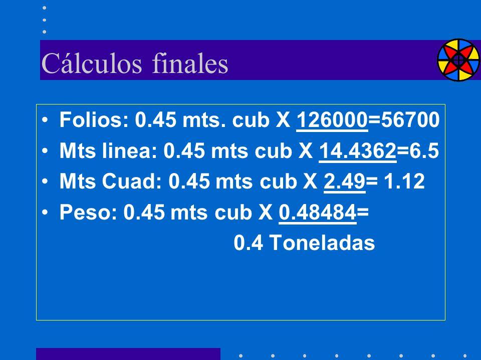 Cálculos finales Folios: 0.45 mts. cub X 126000=56700 Mts linea: 0.45 mts cub X 14.4362=6.5 Mts Cuad: 0.45 mts cub X 2.49= 1.12 Peso: 0.45 mts cub X 0