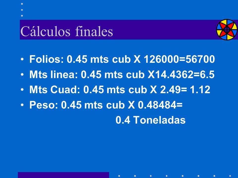 Cálculos finales Folios: 0.45 mts cub X 126000=56700 Mts linea: 0.45 mts cub X14.4362=6.5 Mts Cuad: 0.45 mts cub X 2.49= 1.12 Peso: 0.45 mts cub X 0.4