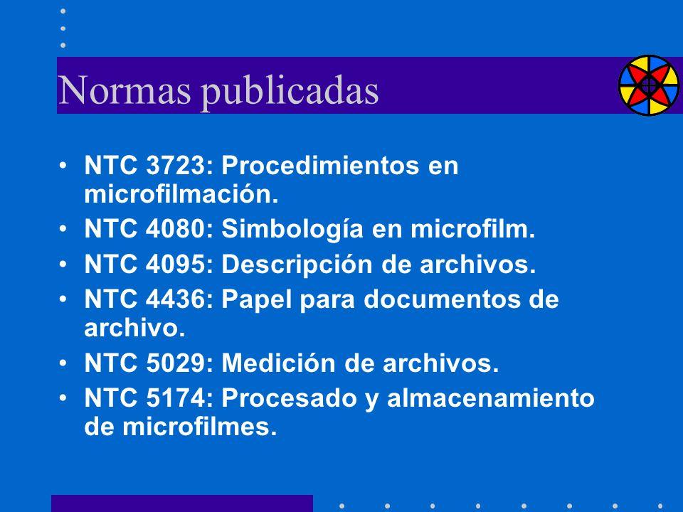 Normas publicadas NTC 3723: Procedimientos en microfilmación. NTC 4080: Simbología en microfilm. NTC 4095: Descripción de archivos. NTC 4436: Papel pa