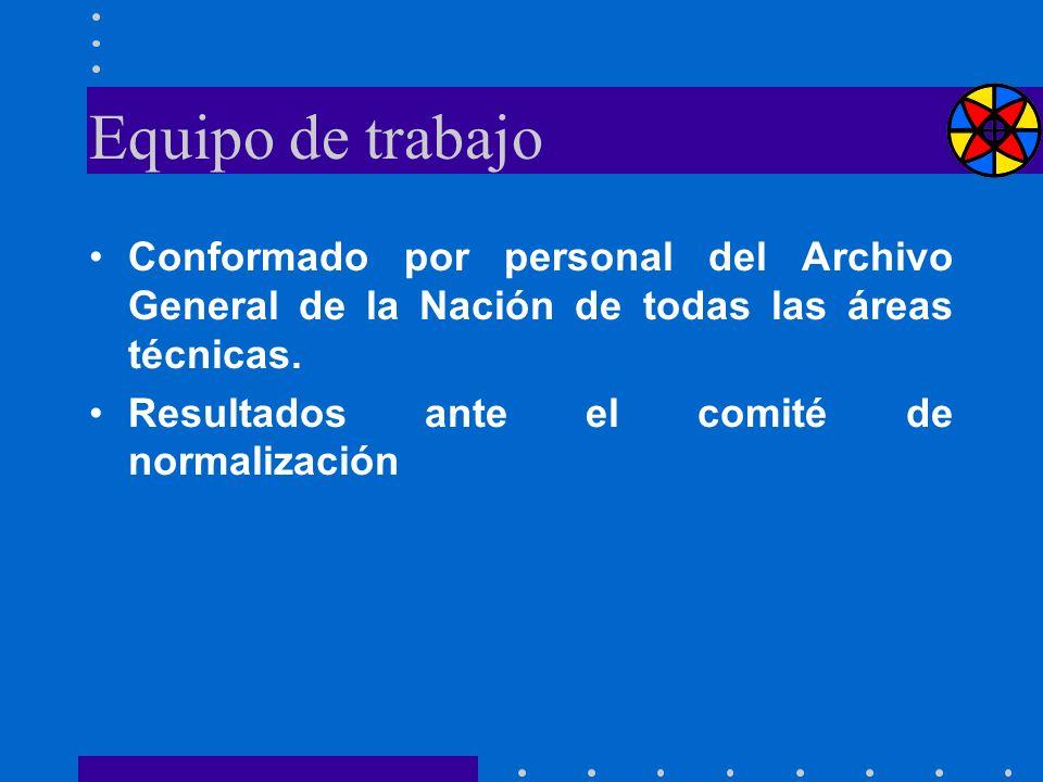 Equipo de trabajo Conformado por personal del Archivo General de la Nación de todas las áreas técnicas. Resultados ante el comité de normalización