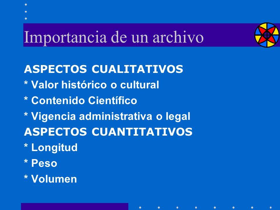 Importancia de un archivo ASPECTOS CUALITATIVOS * Valor histórico o cultural * Contenido Científico * Vigencia administrativa o legal ASPECTOS CUANTIT