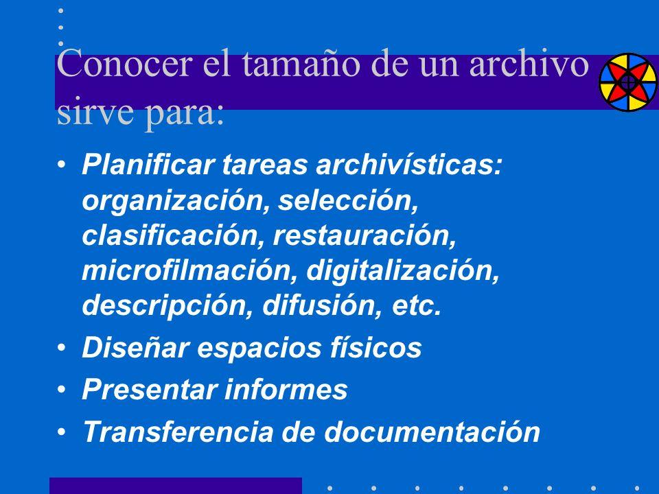 Conocer el tamaño de un archivo sirve para: Planificar tareas archivísticas: organización, selección, clasificación, restauración, microfilmación, dig