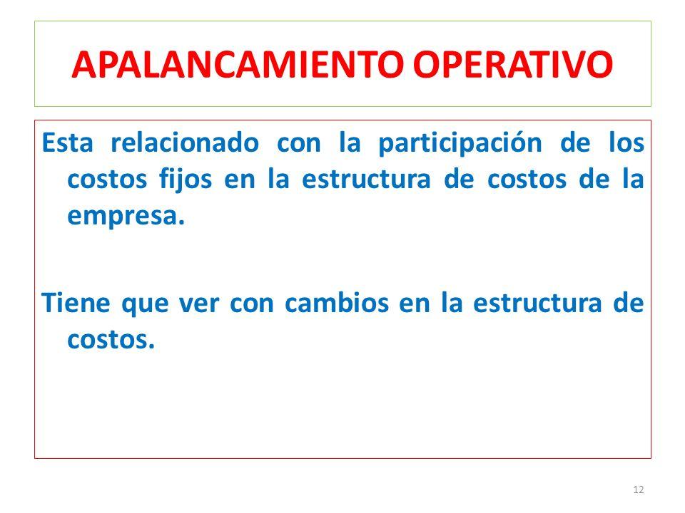 APALANCAMIENTO OPERATIVO Esta relacionado con la participación de los costos fijos en la estructura de costos de la empresa. Tiene que ver con cambios