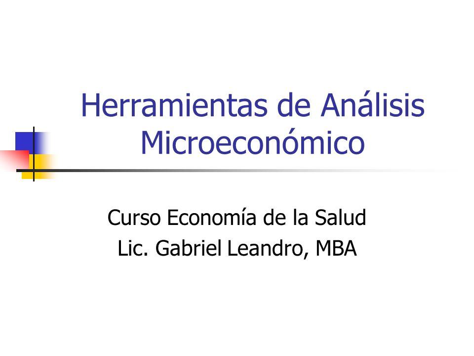 Herramientas de Análisis Microeconómico Curso Economía de la Salud Lic. Gabriel Leandro, MBA