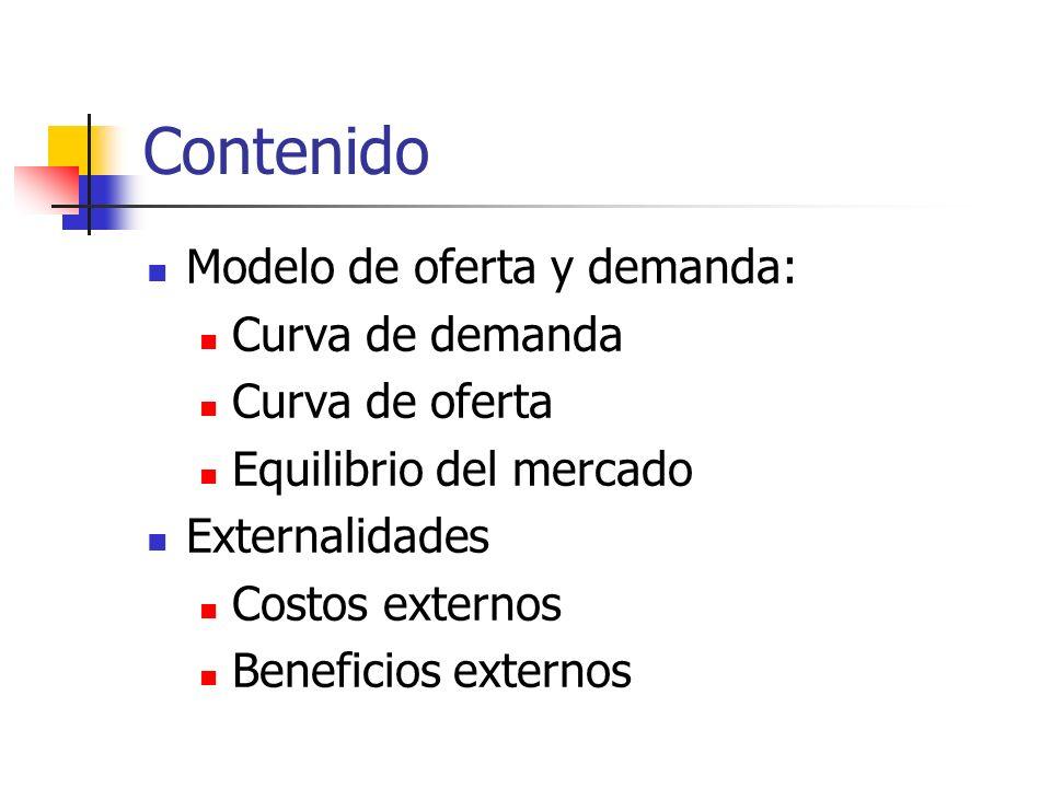 Contenido Modelo de oferta y demanda: Curva de demanda Curva de oferta Equilibrio del mercado Externalidades Costos externos Beneficios externos