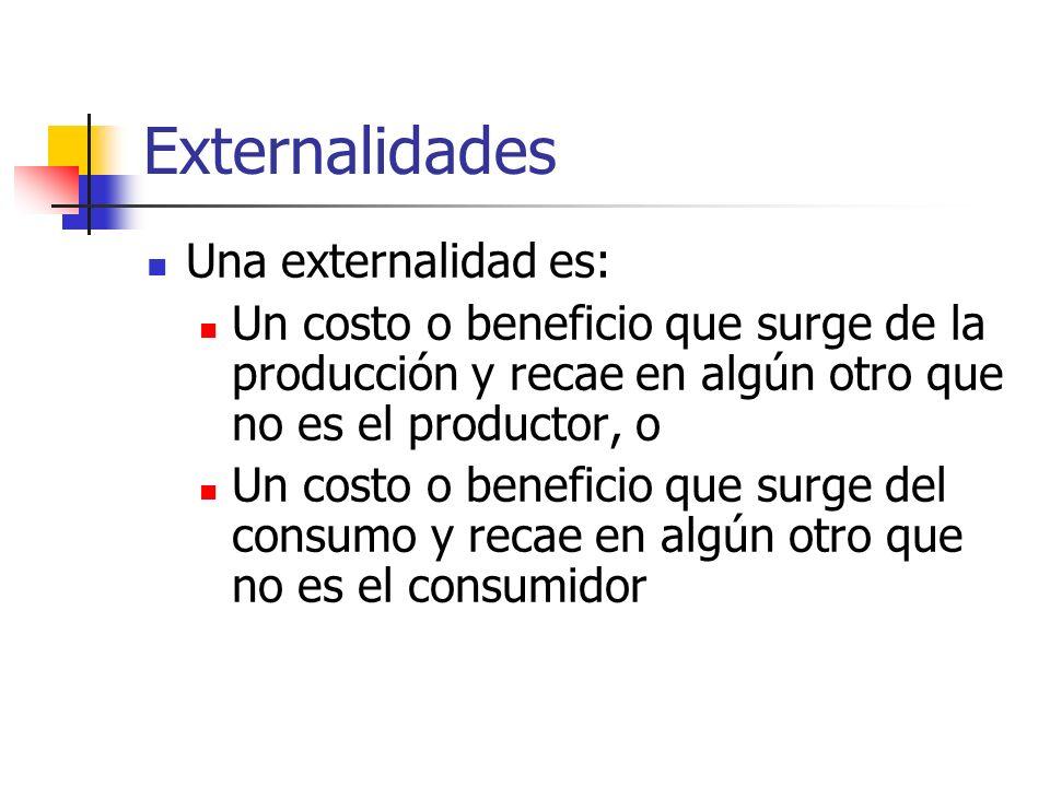 Externalidades Una externalidad es: Un costo o beneficio que surge de la producción y recae en algún otro que no es el productor, o Un costo o benefic