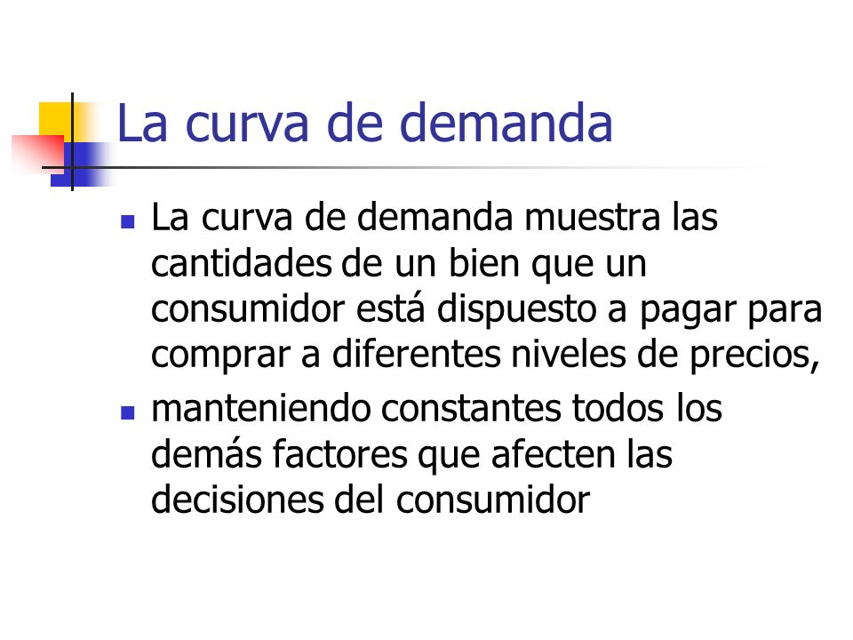 La curva de demanda La curva de demanda muestra las cantidades de un bien que un consumidor está dispuesto a pagar para comprar a diferentes niveles d