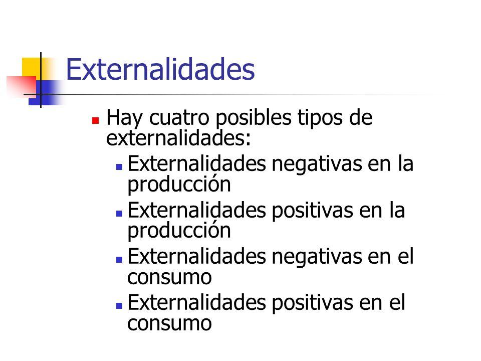 Externalidades Hay cuatro posibles tipos de externalidades: Externalidades negativas en la producción Externalidades positivas en la producción Extern