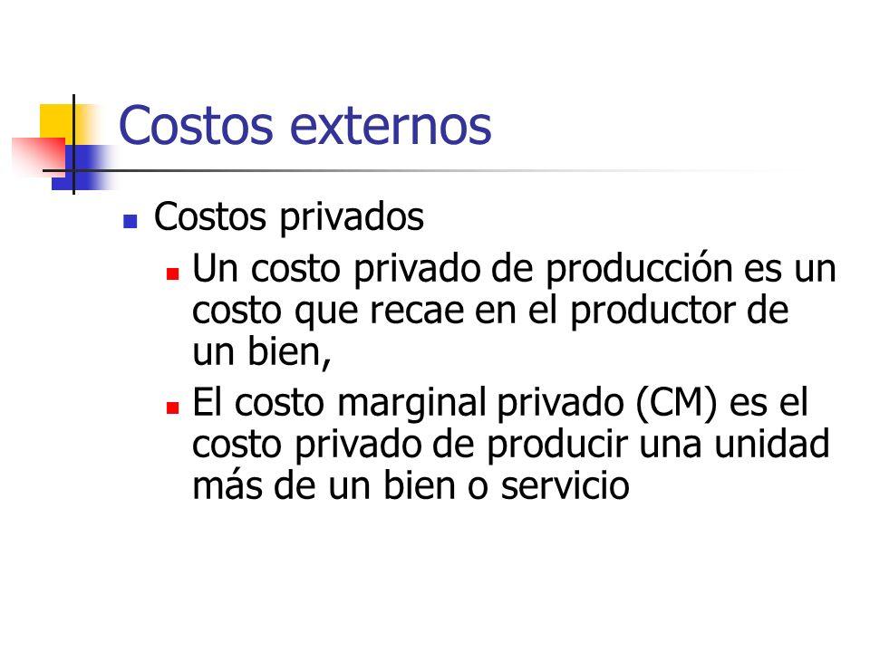 Costos externos Costos privados Un costo privado de producción es un costo que recae en el productor de un bien, El costo marginal privado (CM) es el