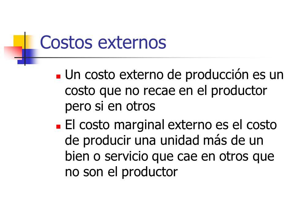 Costos externos Un costo externo de producción es un costo que no recae en el productor pero si en otros El costo marginal externo es el costo de prod