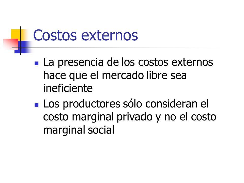 Costos externos La presencia de los costos externos hace que el mercado libre sea ineficiente Los productores sólo consideran el costo marginal privad