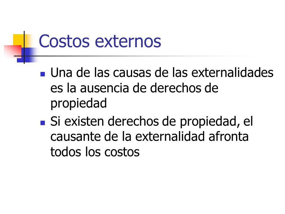 Costos externos Una de las causas de las externalidades es la ausencia de derechos de propiedad Si existen derechos de propiedad, el causante de la ex