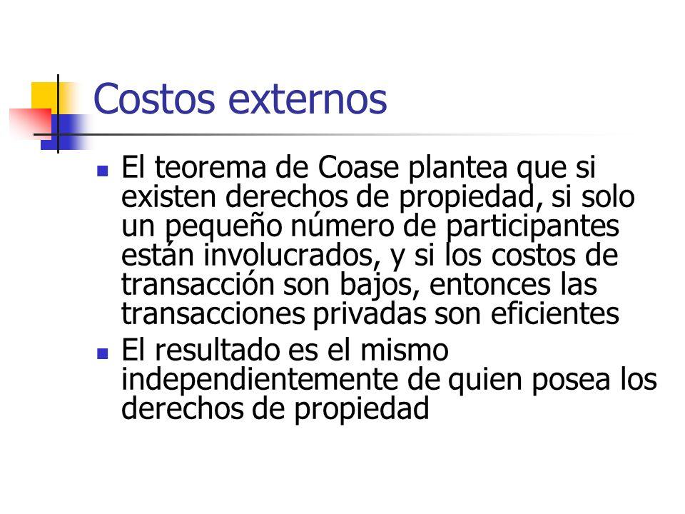 Costos externos El teorema de Coase plantea que si existen derechos de propiedad, si solo un pequeño número de participantes están involucrados, y si