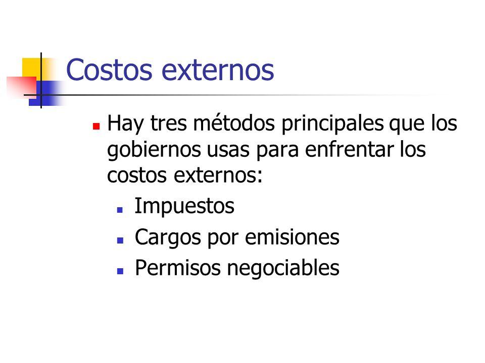 Costos externos Hay tres métodos principales que los gobiernos usas para enfrentar los costos externos: Impuestos Cargos por emisiones Permisos negoci