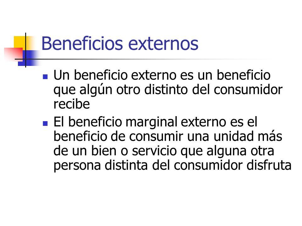 Beneficios externos Un beneficio externo es un beneficio que algún otro distinto del consumidor recibe El beneficio marginal externo es el beneficio d