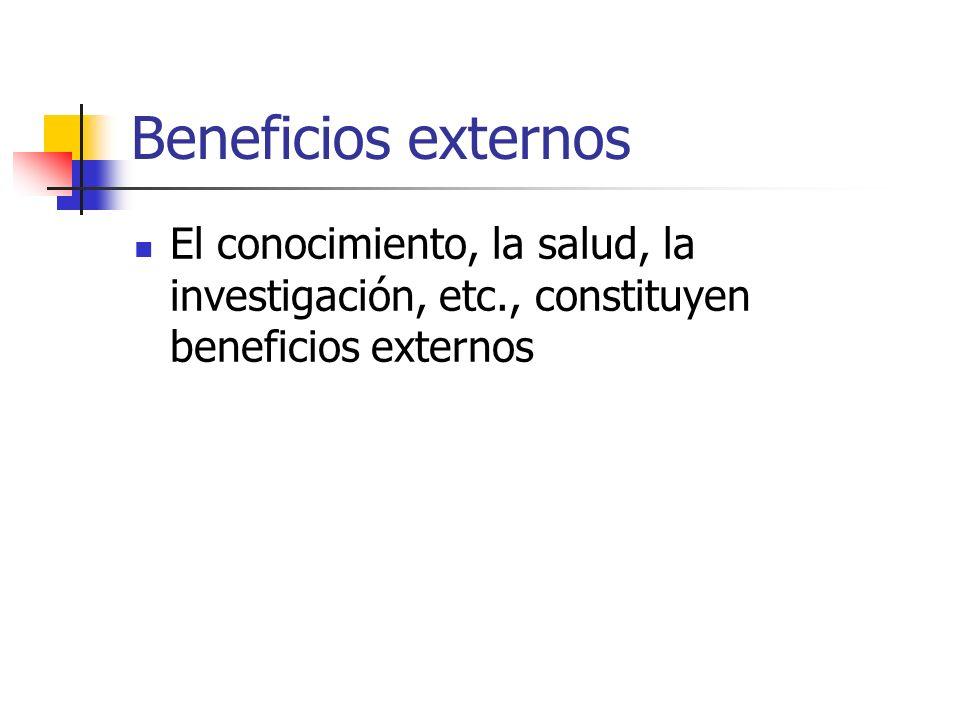 Beneficios externos El conocimiento, la salud, la investigación, etc., constituyen beneficios externos