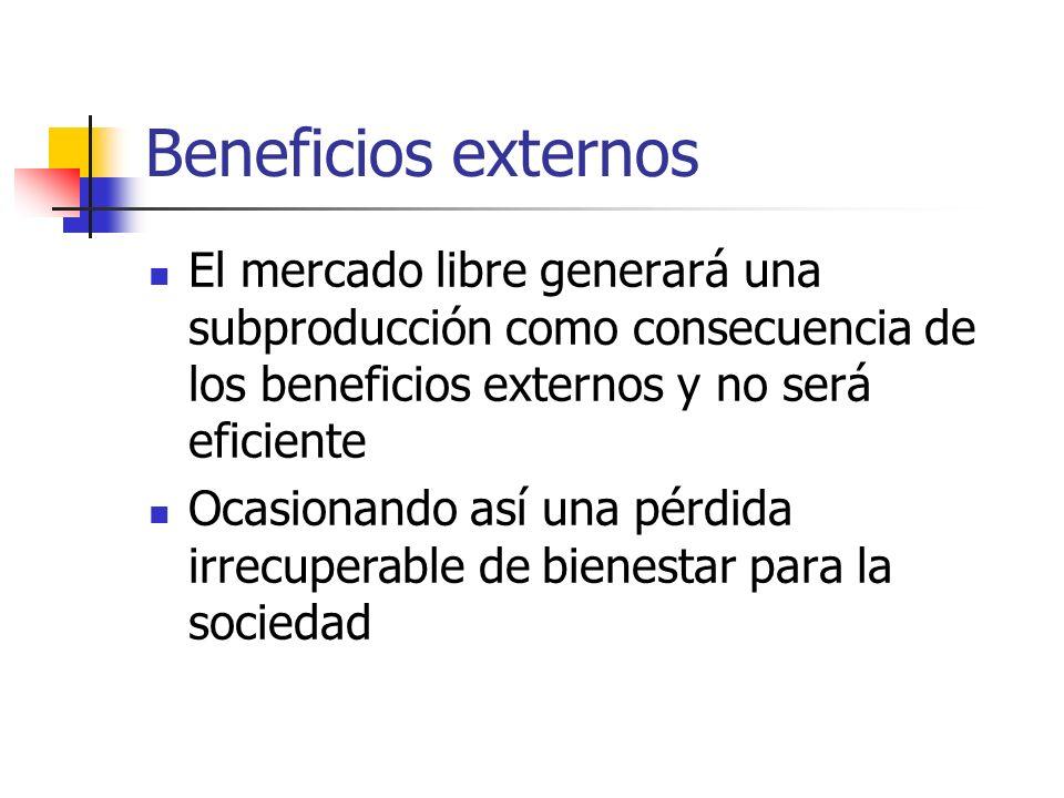 Beneficios externos El mercado libre generará una subproducción como consecuencia de los beneficios externos y no será eficiente Ocasionando así una p