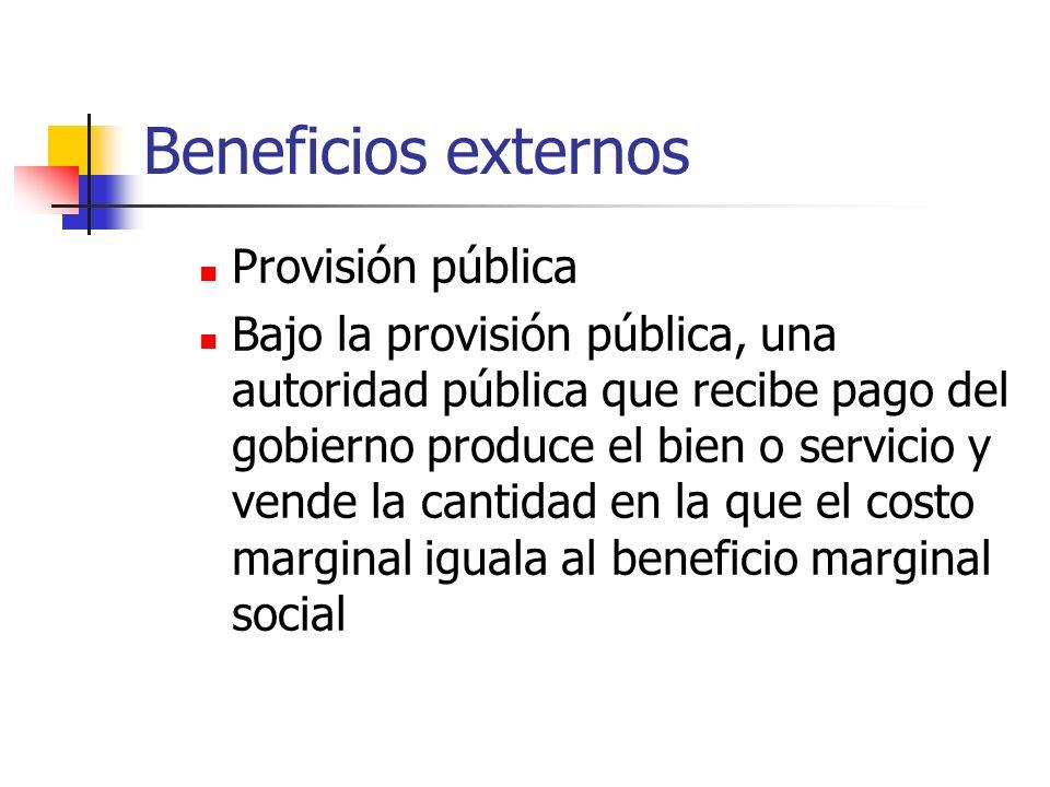 Beneficios externos Provisión pública Bajo la provisión pública, una autoridad pública que recibe pago del gobierno produce el bien o servicio y vende