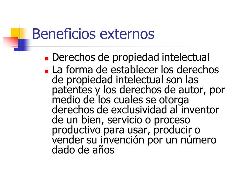Beneficios externos Derechos de propiedad intelectual La forma de establecer los derechos de propiedad intelectual son las patentes y los derechos de