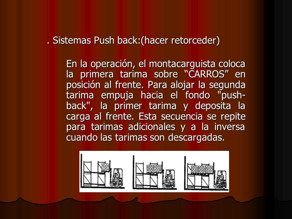 . Sistemas Push back:(hacer retorceder) En la operación, el montacarguista coloca la primera tarima sobre CARROS en posición al frente. Para alojar la