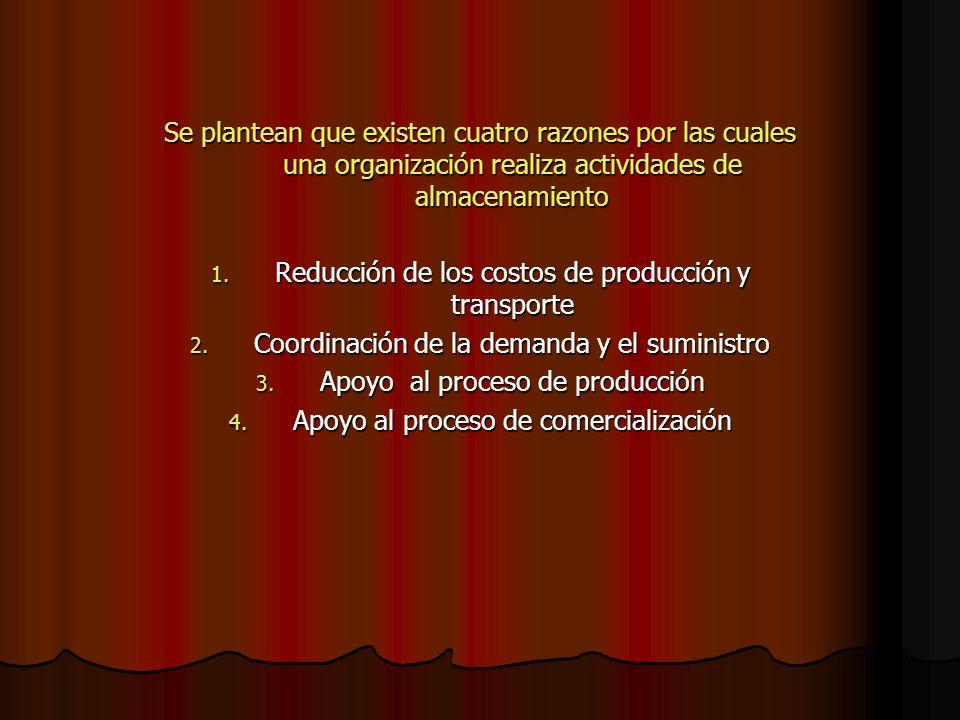 Se plantean que existen cuatro razones por las cuales una organización realiza actividades de almacenamiento 1. Reducción de los costos de producción