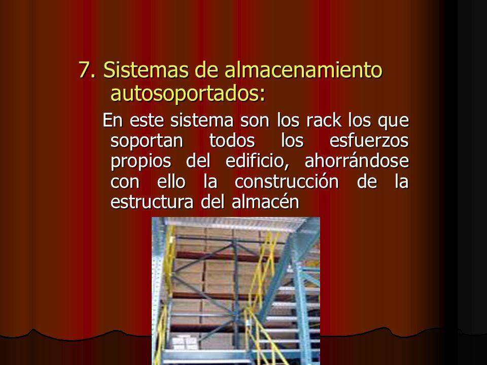 7. Sistemas de almacenamiento autosoportados: En este sistema son los rack los que soportan todos los esfuerzos propios del edificio, ahorrándose con