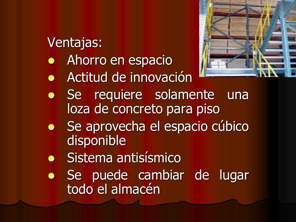 Ventajas: Ahorro en espacio Ahorro en espacio Actitud de innovación Actitud de innovación Se requiere solamente una loza de concreto para piso Se requ