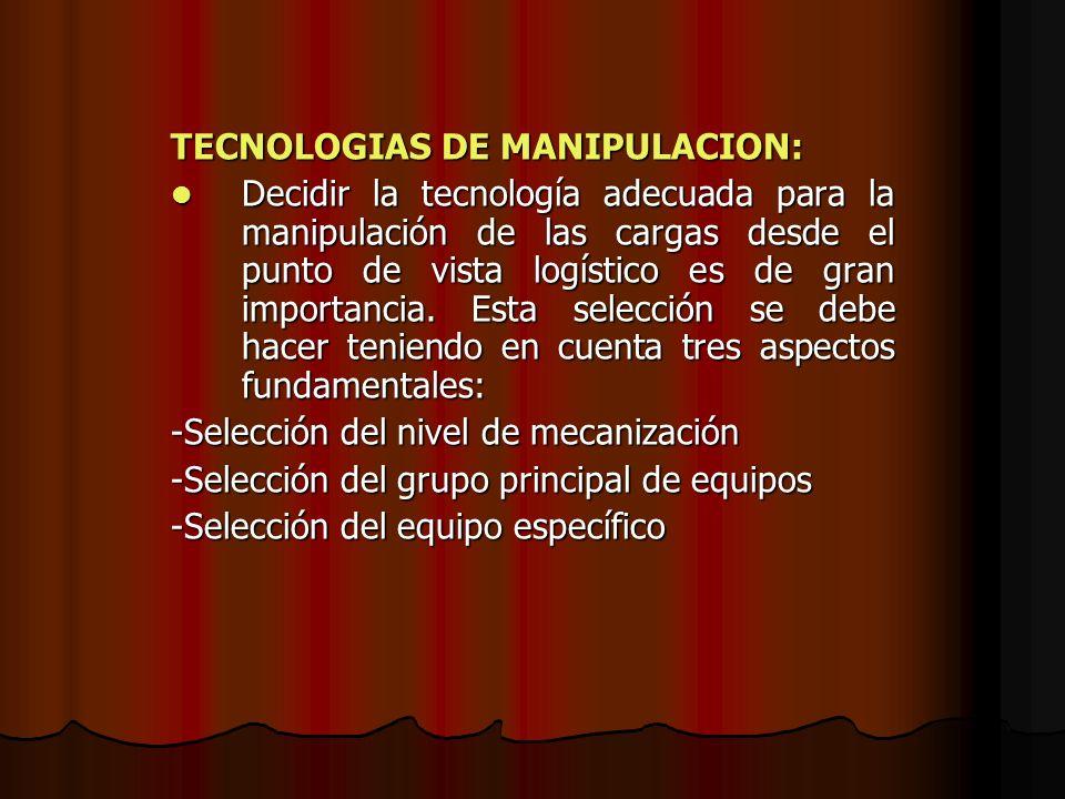 TECNOLOGIAS DE MANIPULACION: Decidir la tecnología adecuada para la manipulación de las cargas desde el punto de vista logístico es de gran importanci
