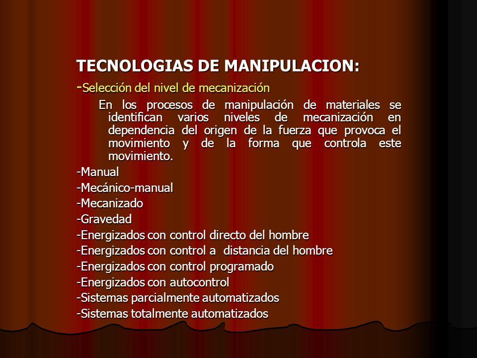 TECNOLOGIAS DE MANIPULACION: - Selección del nivel de mecanización En los procesos de manipulación de materiales se identifican varios niveles de meca