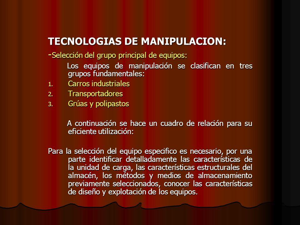 TECNOLOGIAS DE MANIPULACION: - Selección del grupo principal de equipos: Los equipos de manipulación se clasifican en tres grupos fundamentales: Los e