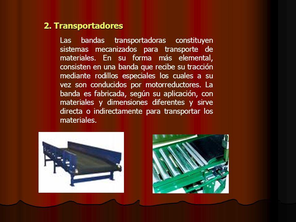 2. Transportadores 2. Transportadores Las bandas transportadoras constituyen sistemas mecanizados para transporte de materiales. En su forma más eleme
