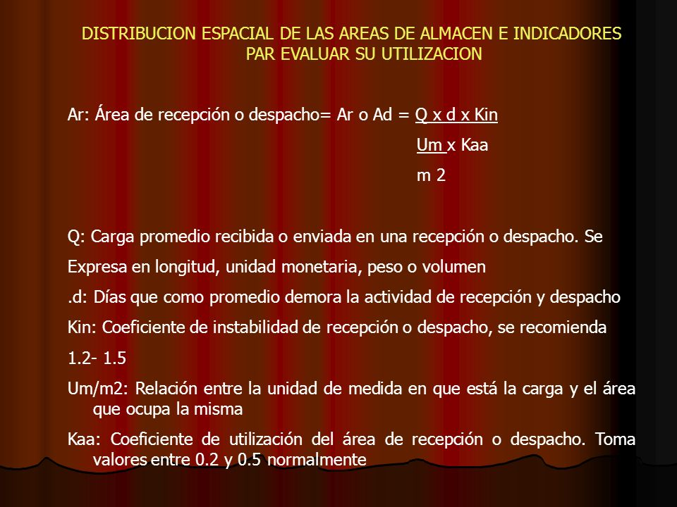 DISTRIBUCION ESPACIAL DE LAS AREAS DE ALMACEN E INDICADORES PAR EVALUAR SU UTILIZACION Ar: Área de recepción o despacho= Ar o Ad = Q x d x Kin Um x Ka
