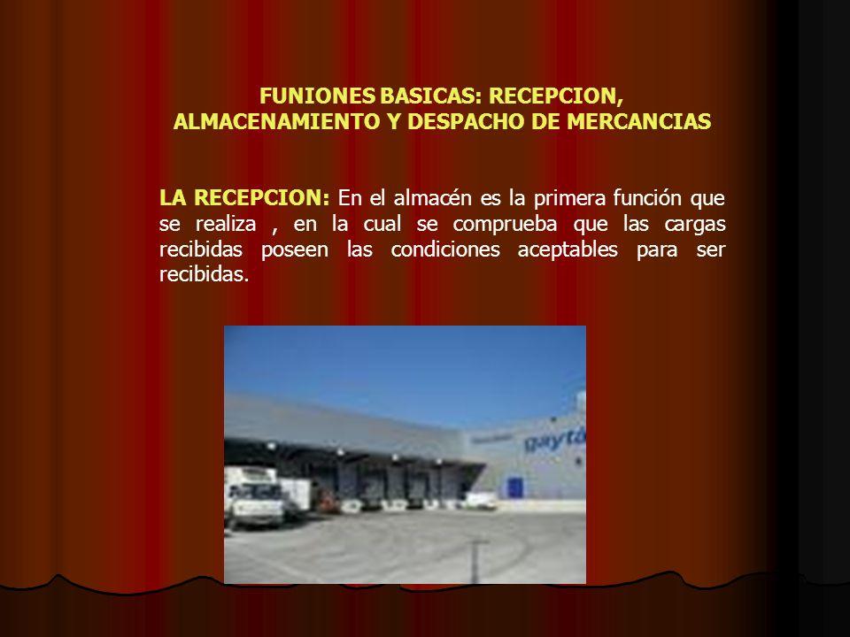 FUNIONES BASICAS: RECEPCION, ALMACENAMIENTO Y DESPACHO DE MERCANCIAS LA RECEPCION: En el almacén es la primera función que se realiza, en la cual se c