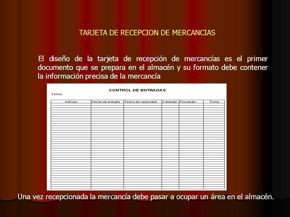 TARJETA DE RECEPCION DE MERCANCIAS El diseño de la tarjeta de recepción de mercancías es el primer documento que se prepara en el almacén y su formato