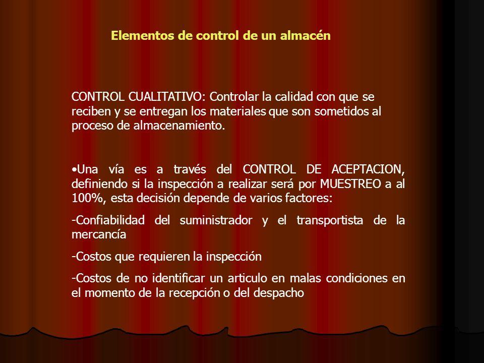 CONTROL CUALITATIVO: Controlar la calidad con que se reciben y se entregan los materiales que son sometidos al proceso de almacenamiento. Una vía es a