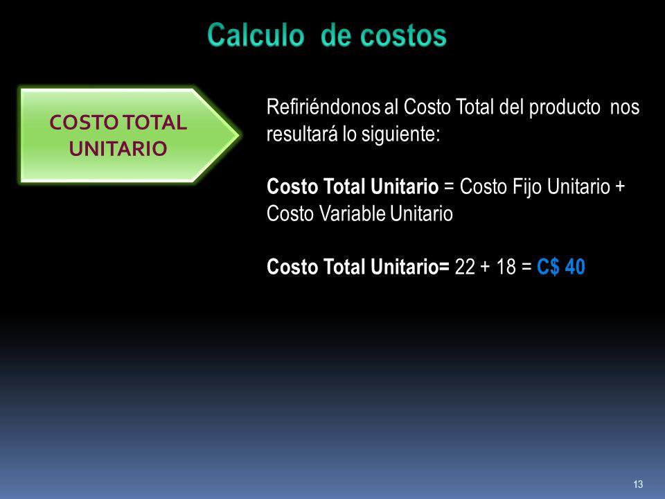 13 COSTO TOTAL UNITARIO Refiriéndonos al Costo Total del producto nos resultará lo siguiente: Costo Total Unitario = Costo Fijo Unitario + Costo Varia