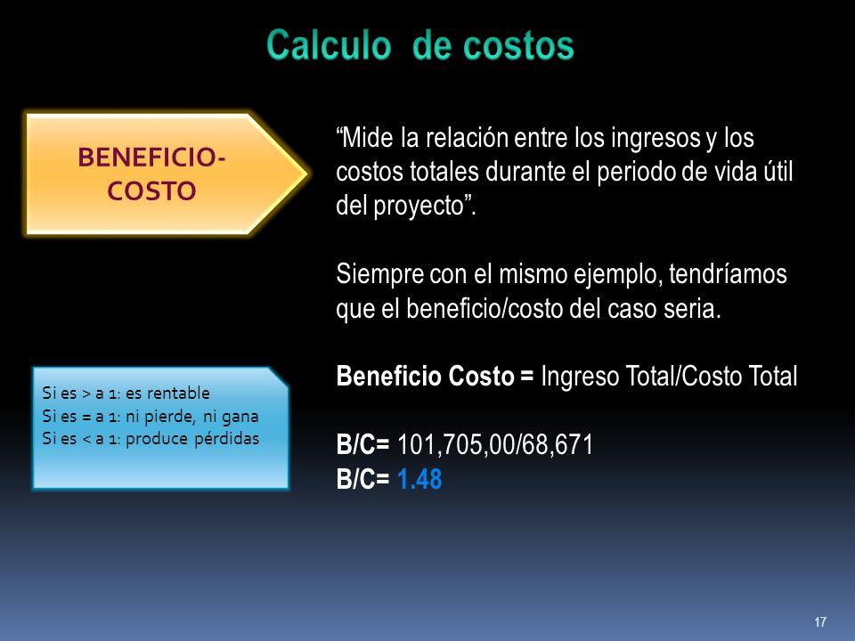 17 BENEFICIO- COSTO Mide la relación entre los ingresos y los costos totales durante el periodo de vida útil del proyecto. Siempre con el mismo ejempl