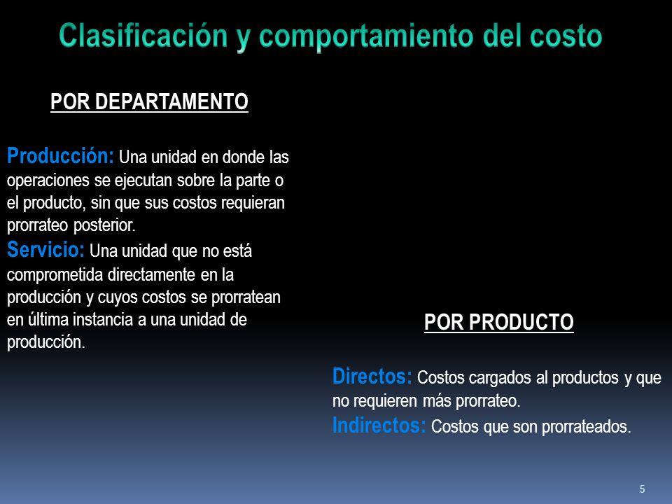 5 POR DEPARTAMENTO Producción: Una unidad en donde las operaciones se ejecutan sobre la parte o el producto, sin que sus costos requieran prorrateo po