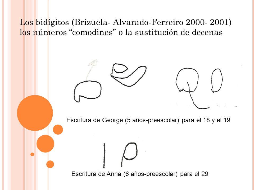 Escritura de George (5 años-preescolar) para el 18 y el 19 Escritura de Anna (6 años-preescolar) para el 29 Los bidígitos (Brizuela- Alvarado-Ferreiro