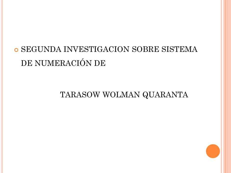 SEGUNDA INVESTIGACION SOBRE SISTEMA DE NUMERACIÓN DE TARASOW WOLMAN QUARANTA