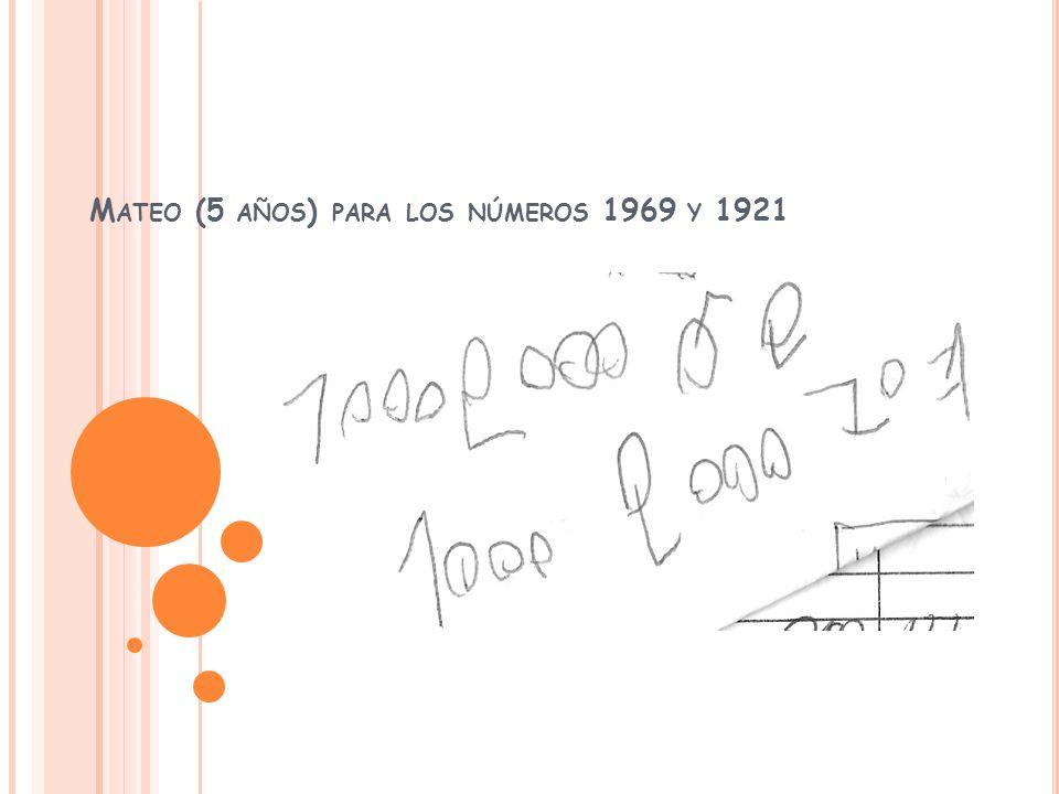 M ATEO (5 AÑOS ) PARA LOS NÚMEROS 1969 Y 1921
